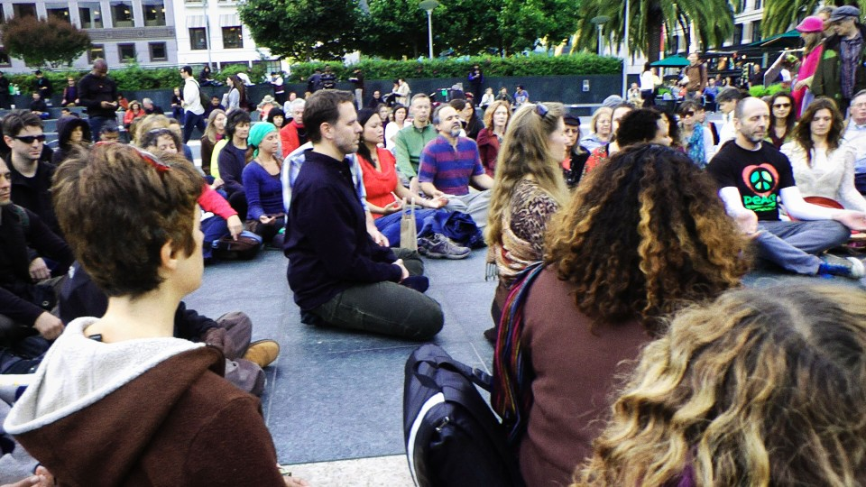 union SQ flash mob meditators for peace