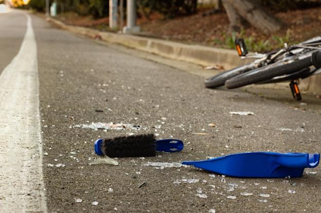 broken bottle in bike lane