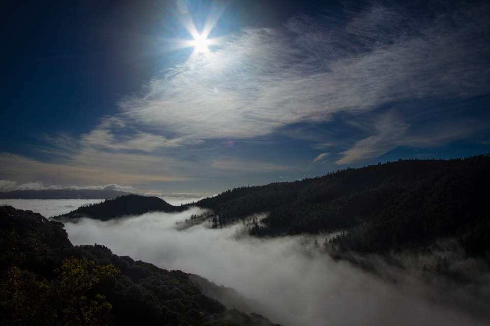 shining high above fog