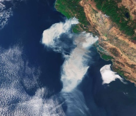 california burning, from space, noaa