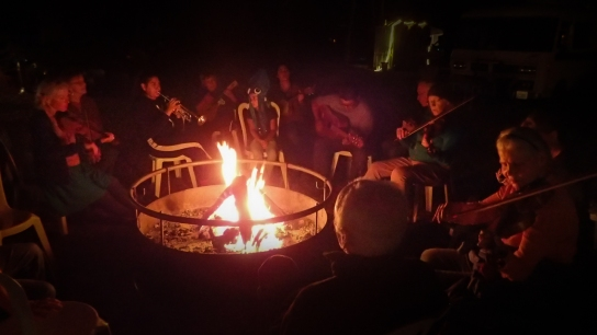 one note, around campfire