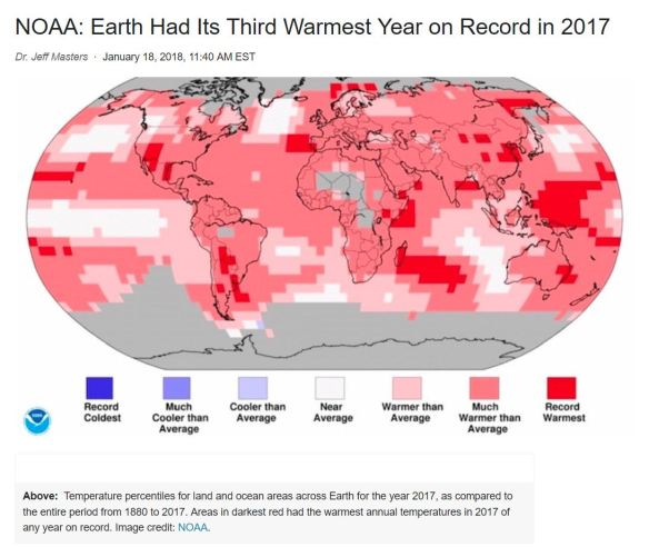 NOAA: 2017 3rd warmest year, ever