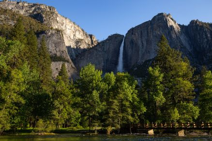 Yosemite Falls from Sentinel bridge crossing Merced River ~d nelson